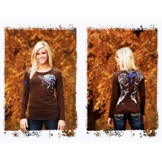C02-F00052 Women's Cowgirl Tuff Cross and Wing Long Sleeve Tee